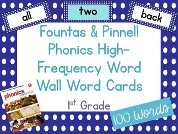 Fountas & Pinnell Phonics High-Frequency Word Wall Word Cards 1st Grade