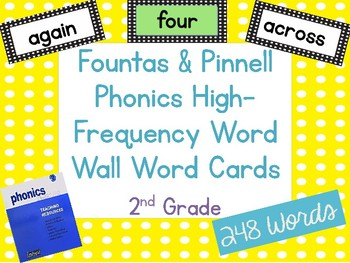 Fountas & Pinnell Phonics High-Frequency Word Wall Word Cards 2nd Grade