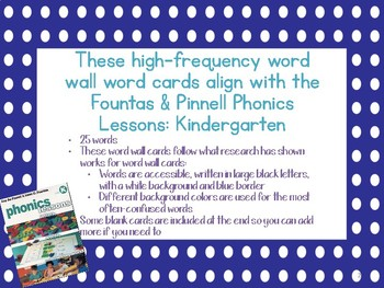 Fountas & Pinnell Phonics High-Frequency Word Wall Word Cards Kindergarten