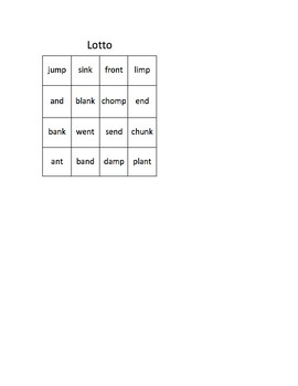 Fountas & Pinnell Phonics LS 19; Ending Consonant Clusters -mp, -nd, -nk, -nd