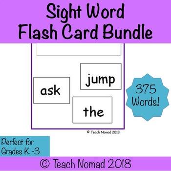 K-3 Sight Word Flash Cards Bundle (375 Words)