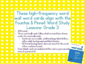Fountas & Pinnell Word Study High-Frequency Word Wall Word Cards 3rd Grade