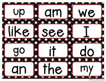 Fountas & Pinnell Word Wall Cards Editable (black and red polka-dots)