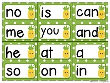 Fountas & Pinnell Word Wall Cards Editable (pineapple theme)
