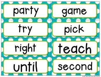 Fountas & Pinnell Word Wall Cards Editable (turquoise & lime green polka-dots)