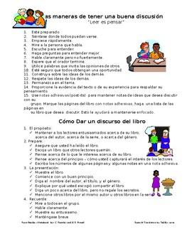 Fountas & Pinnell's: Protocols for book discussions in Spanish