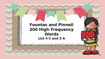Fountas and Pinnell 200 High Frequency Word List 4 C and 5 A