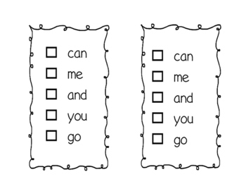 Fountas and Pinnell 25 Sight Word Book