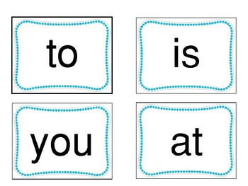 Fountas and Pinnell 25 Sight Word Flash Cards with Data Sheets