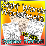 Summer Sight word worksheets