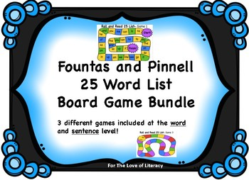Fountas and Pinnell Board Game Bundle- 25 Word List