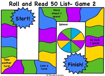 Fountas and Pinnell Board Game Bundle- 50 Word List