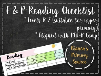 Fountas and Pinnell Checklist R-Z