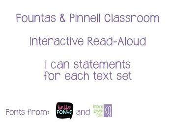 Fountas & Pinnell Classroom Interactive Read Aloud I Can Statements