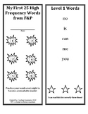 Fountas and Pinnell First 25, 50, and 100 High Frequency Words