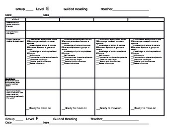 Fountas and Pinnell Guided Reading Lesson Plans Levels E-J