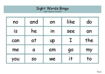 High Frequency 25 words Bingo