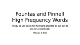 Fountas and Pinnell High Frequency Words