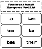 Fountas and Pinnell Homophone Word List