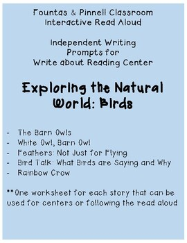 Fountas and Pinnell IRA Write about Reading: Birds
