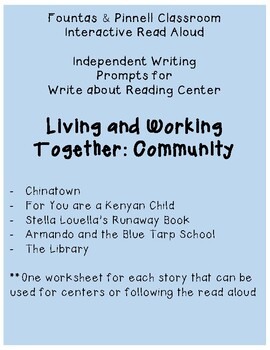 Fountas and Pinnell IRA Write about Reading: Community