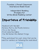 Fountas and Pinnell IRA Write about Reading. Friendship