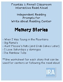 Fountas and Pinnell IRA Write about Reading: Memory Stories