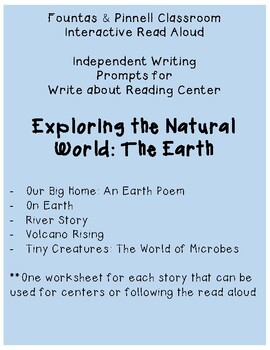Fountas and Pinnell IRA Write about Reading: The Earth