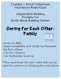 Fountas and Pinnell IRA Write about Reading. Family