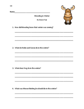 Fountas and Pinnell LLI Blue #102: Moosling in Winter Comprehension Questions