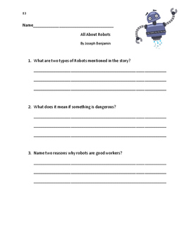 Fountas and Pinnell LLI Blue System: All About Robots Comprehension Questions