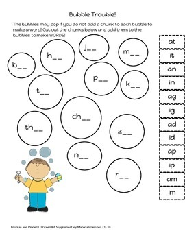 Fountas and Pinnell LLI Green Lessons 21-30 Supplementary Materials