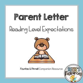 Fountas and Pinnell Parent Letter by Stacy's Smarties | TpT