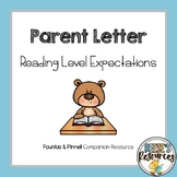 Fountas and Pinnell Parent Letter