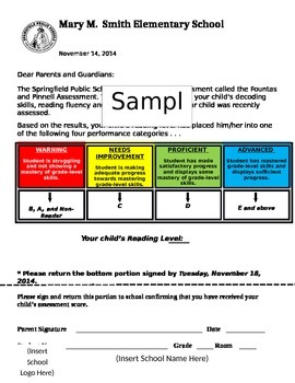 Fountas and Pinnell Parent Reporting Sheet