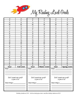Fountas and Pinnell Reading Level Goal Setting Sheet