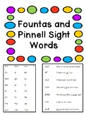 Fountas and Pinnell Sight Word Lists and Sentences