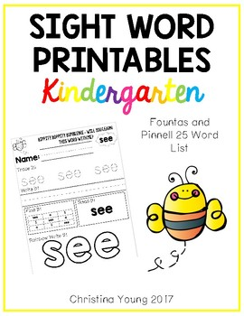 Fountas and Pinnell Sight Word Printables