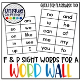 Fountas and Pinnell Sight Words for a Word Wall or Flashcards