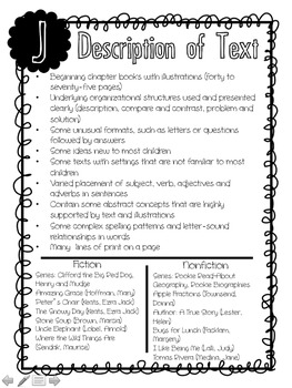 Fountas and Pinnell Text Level Descriptors & Book Recommendations (J-Z)