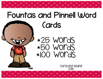 Fountas and Pinnell Word List Cards