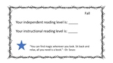 Fountas and Pinnell student reading cards