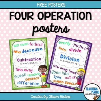 Four (4) Operations Posters Freebie