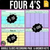 Four 4s Digital Google Slides   Back to School Math Activity