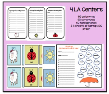 Spring Centers &/OR Group Work! Homophones, Antonyms, Synonyms, and ABC Order!