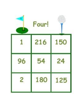 Four! A BINGO game to practice multiplying 3 factors