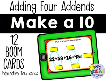 Four Addend Addition by Making Tens BOOM Cards Digital