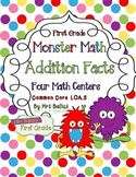 Four Addition Math Centers {Monster Math} Common Core Alig