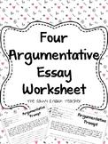Four Argumentative Essay Worksheets
