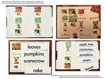 Autumn File Folder Activities - Picture & Word Match